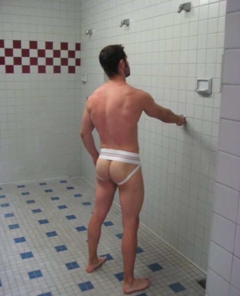 Never understood going to the group shower wearing your jock. We can still tell if you get a stiffy!!
