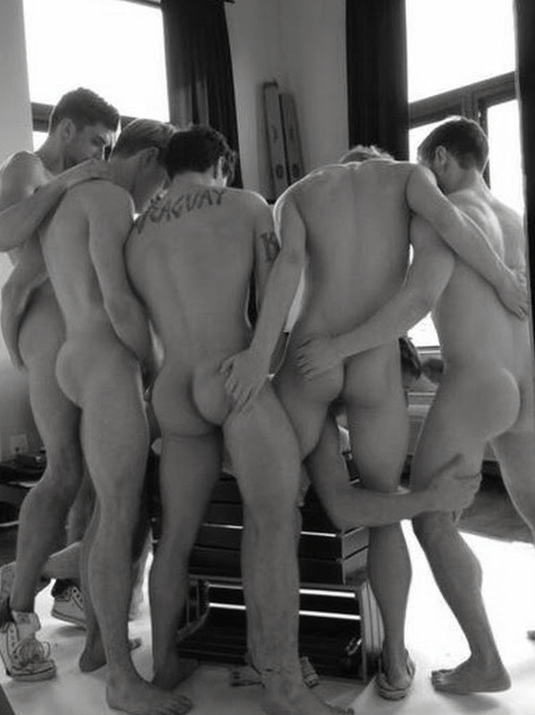 These guys completely understand that you don't have to wait in line at a gangbang. Get in there and get busy!