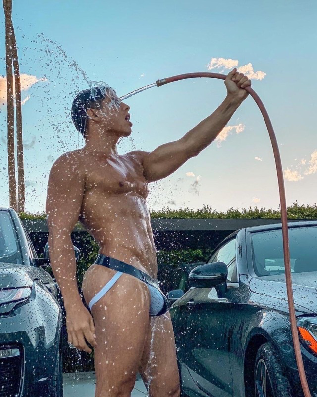 """I told my son to go out and wash the cars make himself useful. He said it was too hot to wear clothes to which I replied, """"Do what you have to, get the job done."""""""