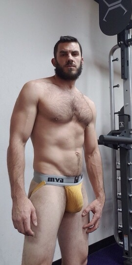 You can say he is  multitasking. Jack is getting a work out and looking for a blow job all the same time! Always successful with that VPL.