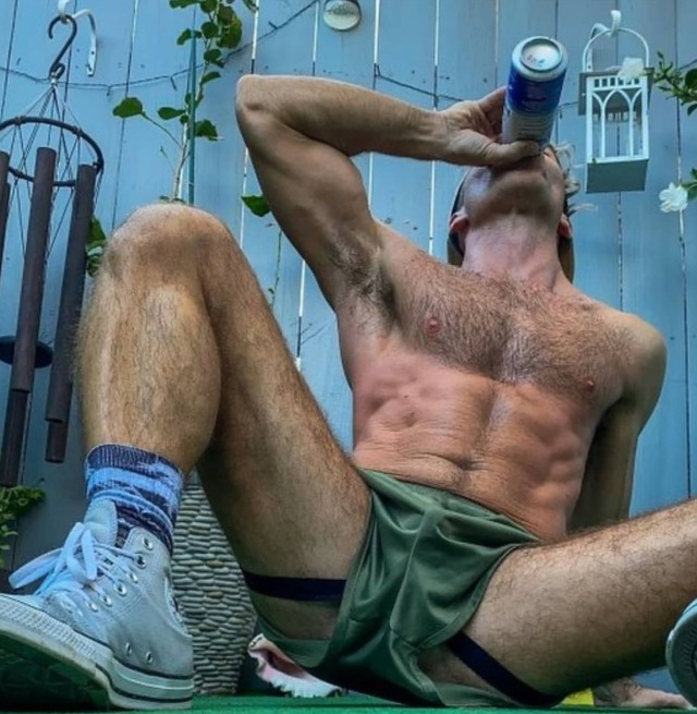I invited my buddy in for a beer after our run. Never thought he'd be one to wear a jock. Going to have to convince him to allow me to do some exploring to learn other things.