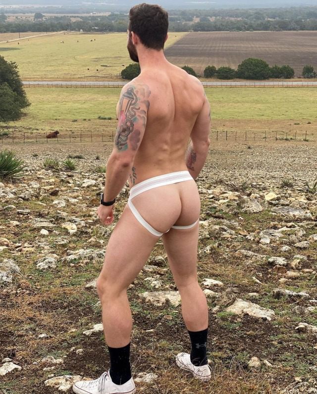 Chad always wears a jock cause of the freedom it provides… paired with the great outdoors… UNSTOPPABLE!