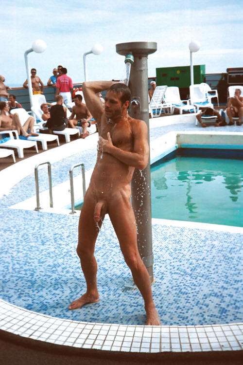 Just like his last five cruises, by the end of the seventh day, his Tanlines should be gone thanks to nude swimming and showers on the top deck.