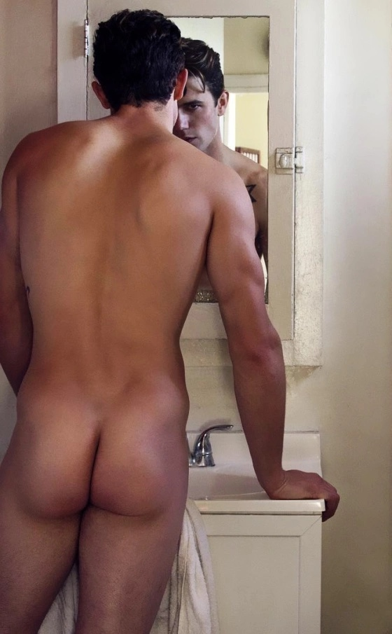 Sharing a bath with my roommate definitely has its advantages! If I catch him at the mirror, we normally shower together.
